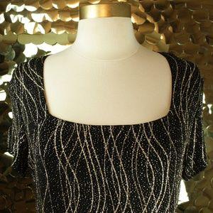 Ronni Nicole Black + Gold Short Sleeve Top